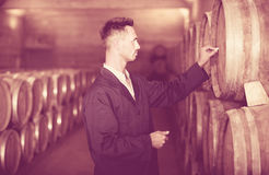 Young man expert  labeling woods in large wine cellar. Young man expert wearing uniform standing and labeling woods in large wine cellar Stock Photo