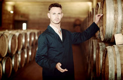 Young man expert labeling woods in large winery cellar. Young man expert wearing uniform standing and labeling woods in large winery cellar Stock Photography