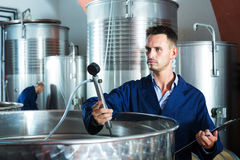 Young man expert in winery Stock Images
