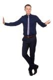 Young man explain something, on white Stock Photo