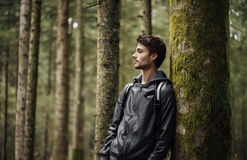 Young man exploring a forest Royalty Free Stock Photography