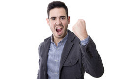 Young man with expression of success Royalty Free Stock Images