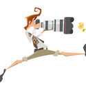 Young man extreme pro professional photographer with big lens ca Royalty Free Stock Photos