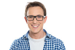Young Man With Eyeglasses. Portrait Of Happy Young Man Wearing Eyeglasses Isolated On White Background Stock Photography