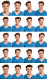 Young Man Face Expressions Composite Isolated Stock Photography