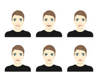 Young man face expressions composite vector illustration