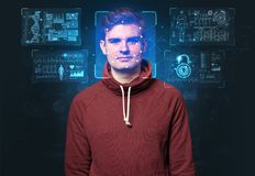 Young man face recognition royalty free stock photo