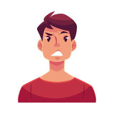 Young man face, upset, confused facial expression Royalty Free Stock Photos