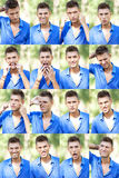 Young man faces collage Stock Images