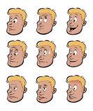 Young man facial expressions Stock Images