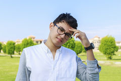 Young man facing a problem. Stock Photos