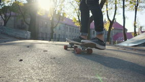 Young man failed flip trick on a skateboard stock video footage