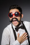 Young man with false moustache Stock Photos