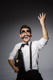 Young man with false moustache Royalty Free Stock Image