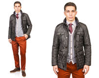 The young man in fashion concept isolated on white Royalty Free Stock Images