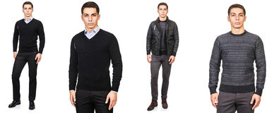 Young man in fashion concept isolated on white Stock Photos