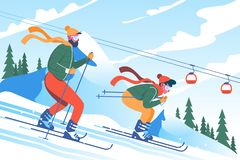 Young man father with beard skiing with his son in mountains. Concept winter holiday, children s entertainment, enjoy. Vector illustration vector illustration