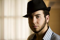 Young Man in a Fedora Royalty Free Stock Photography