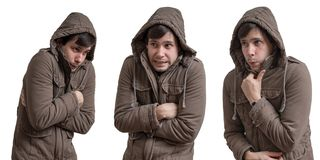 Young man feel cold. Isolated on white background.  royalty free stock images