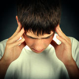 Young Man feel Headache Stock Photography