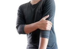Young man Feeling suffering  Lower back pain  Pain relief concep. T Royalty Free Stock Photography
