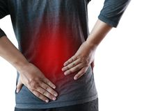 Young man Feeling suffering  Lower back pain  Pain relief concep. T Stock Image