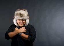 Young man feels cold Royalty Free Stock Image