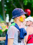Young man at festival of colors (Holi Festival), Gomel, Belarus Royalty Free Stock Photography
