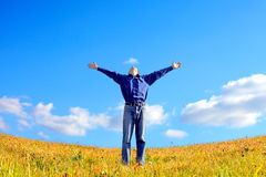 Young man in the field Stock Photography