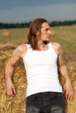 Young man in the field Stock Image