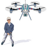Young man filming with a drone. Young man holding radio controller filming with a drone - vector illustration Stock Photos