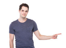 Young Man with finger point aside Stock Photo