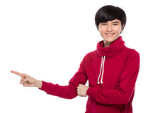 Young man with finger point out Stock Photo
