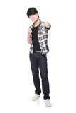Young man finger point to you. Casual young man finger point to you in full body isolated on white background, asian model Royalty Free Stock Images