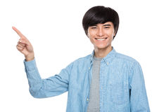 Young man finger up Royalty Free Stock Images