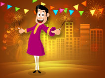Young man with firecracker for Diwali celebration. Happy young man in traditional dress enjoying with firecrackers on shiny urban city background for Indian Royalty Free Stock Photography