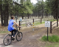 A Young Man on Flagstaff's Urban Trail System Royalty Free Stock Photos
