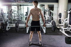 Young man flexing muscles with barbell in gym. Sport Stock Images