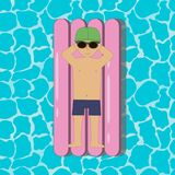 Young man floating on a inflatable swim mattress in a swimming pool or sea or ocean. Boy in sunglasses and cap. Vector. Stock Photo