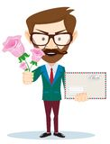 Young man with flowers and a letter, vector Royalty Free Stock Images