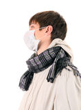 Young Man in Flu Mask Stock Photo