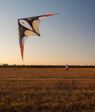 Young man flying a kite on sunny summer day Stock Image
