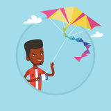 Young man flying kite vector illustration. Stock Image