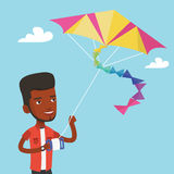 Young man flying kite vector illustration. Stock Photos