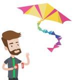 Young man flying kite vector illustration. Royalty Free Stock Photos