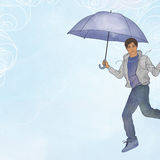 Young man flying in open air with umbrella Stock Photos
