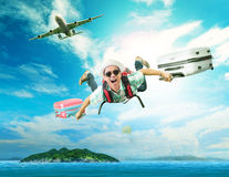Young man flying from passenger plane Royalty Free Stock Photo