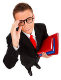 Young man with folders royalty free stock images