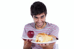 Young man food temptation Stock Photo