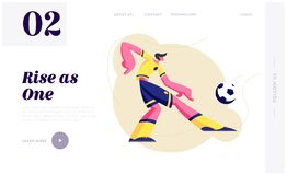 Young Man Football Soccer Player in Team Uniform in Motion Kick Ball. Attack Character in Tournament Competition Football Game. Website Landing Page, Web Page vector illustration